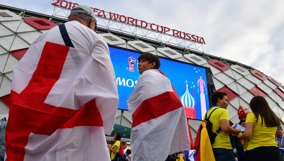 England's supporters arrive of the Russia 2018 World Cup round of 16 football match between Colombia and England outside the Spartak Stadium in Moscow on July 3, 2018. (Photo by Mladen ANTONOV / AFP)        (Photo credit should read MLADEN ANTONOV/AFP/Getty Images)