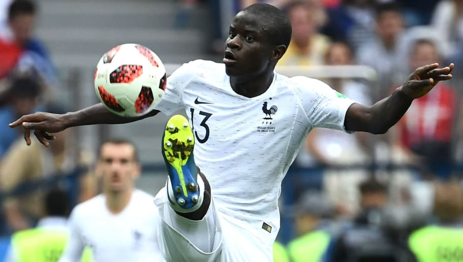 France's midfielder N'Golo Kante controls the ball during the Russia 2018 World Cup quarter-final football match between Uruguay and France at the Nizhny Novgorod Stadium in Nizhny Novgorod on July 6, 2018. (Photo by FRANCK FIFE / AFP) / RESTRICTED TO EDITORIAL USE - NO MOBILE PUSH ALERTS/DOWNLOADS        (Photo credit should read FRANCK FIFE/AFP/Getty Images)
