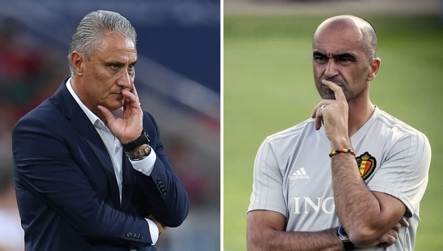 (COMBO) This combination of photos created on July 4, 2018 shows Brazil's coach Tite in Moscow on June 27, 2018 (L) and Belgium's coach Roberto Martinez in Dedovsk on June 25, 2018. - Brazil will face Belgium in their Russia 2018 World Cup quarter-final football match at the Kazan Arena in Kazan on July 6, 2018. (Photo by Patrik STOLLARZ and Alexander NEMENOV / AFP)        (Photo credit should read PATRIK STOLLARZ,ALEXANDER NEMENOV/AFP/Getty Images)