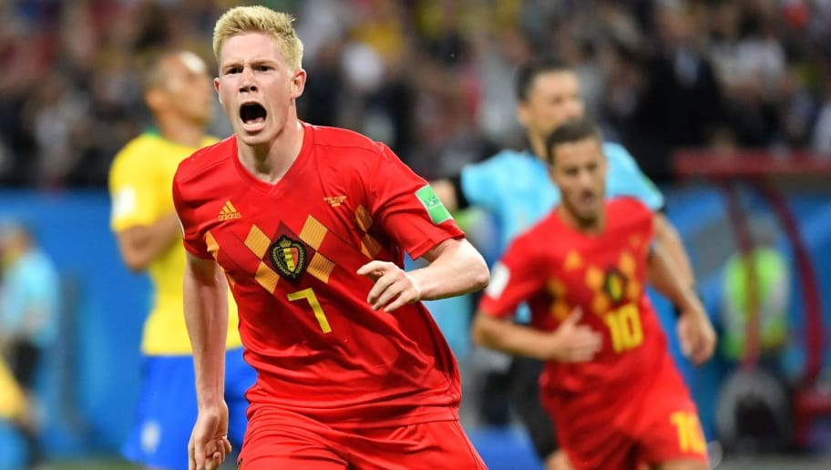 Belgium's midfielder Kevin De Bruyne celebrates after scoring his team's second goal during the Russia 2018 World Cup quarter-final football match between Brazil and Belgium at the Kazan Arena in Kazan on July 6, 2018. (Photo by EMMANUEL DUNAND / AFP) / RESTRICTED TO EDITORIAL USE - NO MOBILE PUSH ALERTS/DOWNLOADS        (Photo credit should read EMMANUEL DUNAND/AFP/Getty Images)