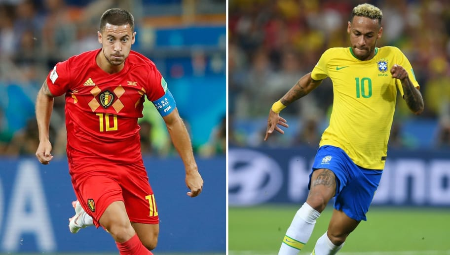 (COMBO) This combination of photos created on July 4, 2018 shows Belgium's forward Eden Hazard in Rostov-On-Don on July 2, 2018 (L) and Brazil's forward Neymar in Moscow on June 27, 2018. - Brazil will face Belgium in their Russia 2018 World Cup quarter-final football match at the Kazan Arena in Kazan on July 6, 2018. (Photo by Patrik STOLLARZ and Odd ANDERSEN / AFP)        (Photo credit should read PATRIK STOLLARZ,ODD ANDERSEN/AFP/Getty Images)