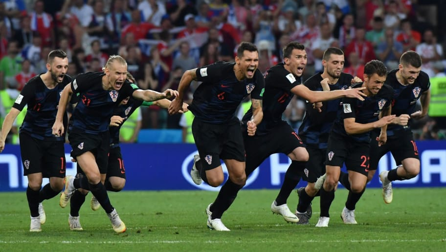 Croatia's players celebrate their winning penalty during the Russia 2018 World Cup quarter-final football match between Russia and Croatia at the Fisht Stadium in Sochi on July 7, 2018. (Photo by Nelson Almeida / AFP) / RESTRICTED TO EDITORIAL USE - NO MOBILE PUSH ALERTS/DOWNLOADS        (Photo credit should read NELSON ALMEIDA/AFP/Getty Images)