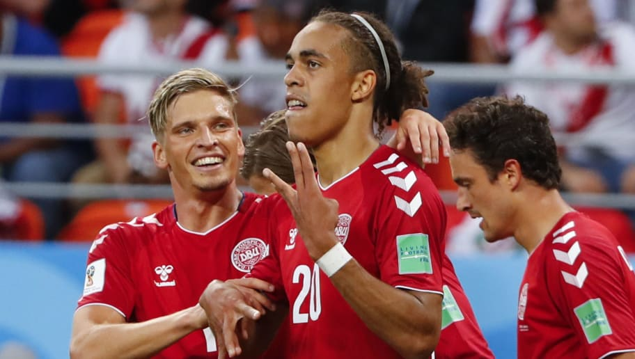 Denmark's forward Yussuf Poulsen (C) celebrates with teammates after scoring a goal during the Russia 2018 World Cup Group C football match between Peru and Denmark at the Mordovia Arena in Saransk on June 16, 2018. (Photo by Jack GUEZ / AFP) / RESTRICTED TO EDITORIAL USE - NO MOBILE PUSH ALERTS/DOWNLOADS        (Photo credit should read JACK GUEZ/AFP/Getty Images)