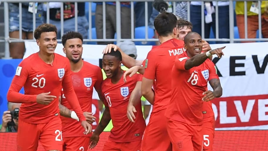 England's players celebrate their second goal during the Russia 2018 World Cup quarter-final football match between Sweden and England at the Samara Arena in Samara on July 7, 2018. - England's midfielder Dele Alli doubled the lead for England. (Photo by Manan VATSYAYANA / AFP) / RESTRICTED TO EDITORIAL USE - NO MOBILE PUSH ALERTS/DOWNLOADS        (Photo credit should read MANAN VATSYAYANA/AFP/Getty Images)