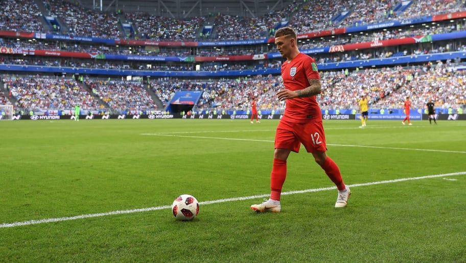 England's defender Kieran Trippier prepares to throw in during the Russia 2018 World Cup quarter-final football match between Sweden and England at the Samara Arena in Samara on July 7, 2018. (Photo by YURI CORTEZ / AFP) / RESTRICTED TO EDITORIAL USE - NO MOBILE PUSH ALERTS/DOWNLOADS        (Photo credit should read YURI CORTEZ/AFP/Getty Images)