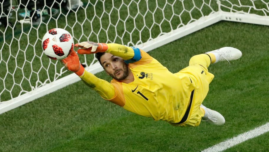 France's goalkeeper Hugo Lloris jumps to catch the ball during the Russia 2018 World Cup semi-final football match between France and Belgium at the Saint Petersburg Stadium in Saint Petersburg on July 10, 2018. (Photo by Adrian DENNIS / AFP) / RESTRICTED TO EDITORIAL USE - NO MOBILE PUSH ALERTS/DOWNLOADS        (Photo credit should read ADRIAN DENNIS/AFP/Getty Images)