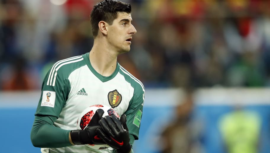 Belgium's goalkeeper Thibaut Courtois looks on after catching the ball during the Russia 2018 World Cup semi-final football match between France and Belgium at the Saint Petersburg Stadium in Saint Petersburg on July 10, 2018. (Photo by Odd ANDERSEN / AFP) / RESTRICTED TO EDITORIAL USE - NO MOBILE PUSH ALERTS/DOWNLOADS        (Photo credit should read ODD ANDERSEN/AFP/Getty Images)