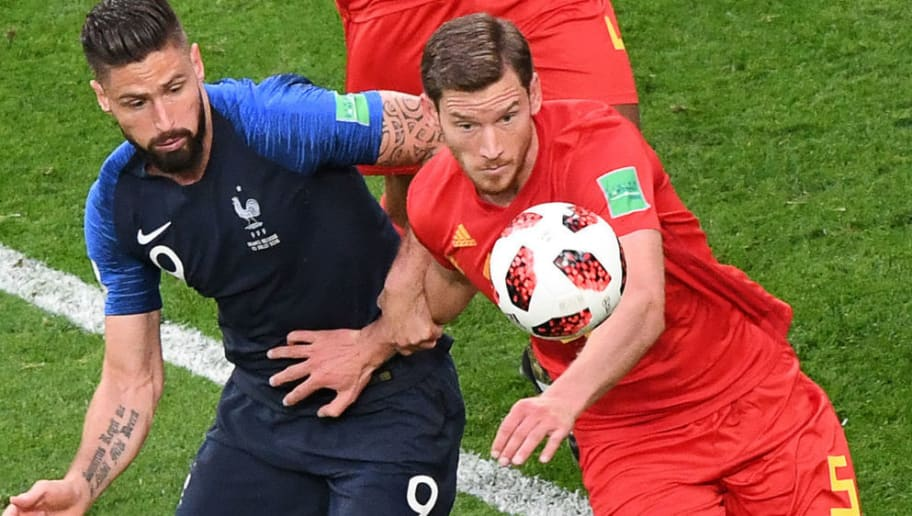 France's forward Olivier Giroud (L) and Belgium's defender Jan Vertonghen (R) eye the ball as they vie for it during the Russia 2018 World Cup semi-final football match between France and Belgium at the Saint Petersburg Stadium in Saint Petersburg on July 10, 2018. (Photo by FRANCOIS XAVIER MARIT / AFP) / RESTRICTED TO EDITORIAL USE - NO MOBILE PUSH ALERTS/DOWNLOADS        (Photo credit should read FRANCOIS XAVIER MARIT/AFP/Getty Images)