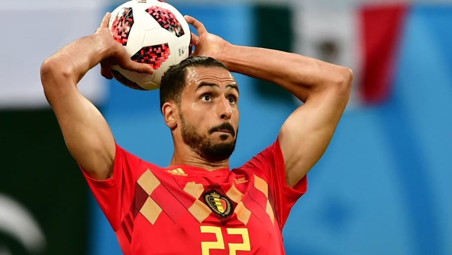 Belgium's midfielder Nacer Chadli takes a throw in during the Russia 2018 World Cup semi-final football match between France and Belgium at the Saint Petersburg Stadium in Saint Petersburg on July 10, 2018. (Photo by Giuseppe CACACE / AFP) / RESTRICTED TO EDITORIAL USE - NO MOBILE PUSH ALERTS/DOWNLOADS        (Photo credit should read GIUSEPPE CACACE/AFP/Getty Images)