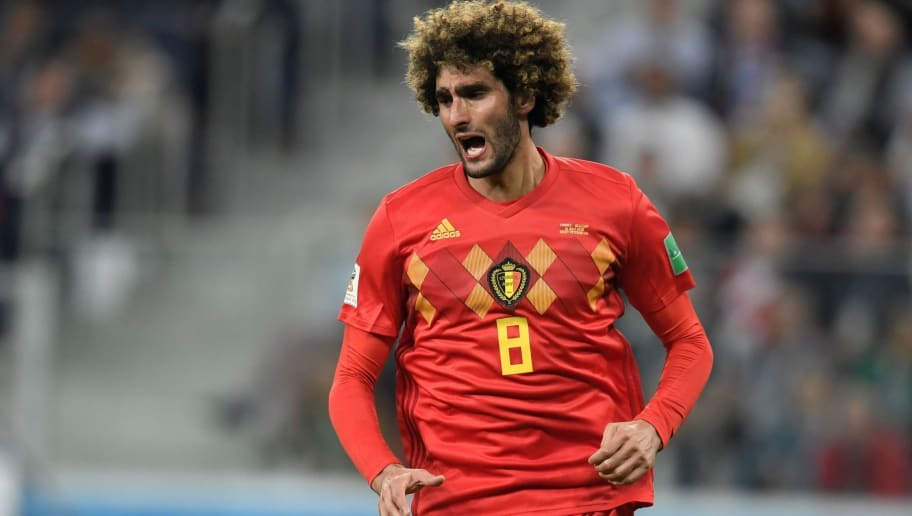 Belgium's midfielder Marouane Fellaini reacts after his shot misses the goal during the Russia 2018 World Cup semi-final football match between France and Belgium at the Saint Petersburg Stadium in Saint Petersburg on July 10, 2018. (Photo by GABRIEL BOUYS / AFP) / RESTRICTED TO EDITORIAL USE - NO MOBILE PUSH ALERTS/DOWNLOADS        (Photo credit should read GABRIEL BOUYS/AFP/Getty Images)