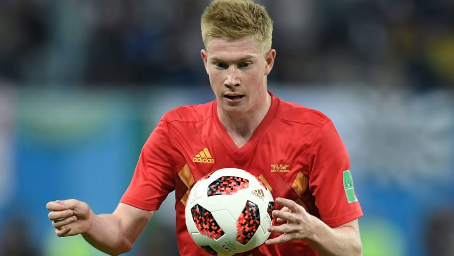 Belgium's midfielder Kevin De Bruyne controls the ball during the Russia 2018 World Cup semi-final football match between France and Belgium at the Saint Petersburg Stadium in Saint Petersburg on July 10, 2018. (Photo by GABRIEL BOUYS / AFP) / RESTRICTED TO EDITORIAL USE - NO MOBILE PUSH ALERTS/DOWNLOADS        (Photo credit should read GABRIEL BOUYS/AFP/Getty Images)