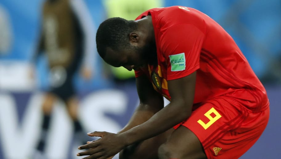 Belgium's forward Romelu Lukaku reacts during the Russia 2018 World Cup semi-final football match between France and Belgium at the Saint Petersburg Stadium in Saint Petersburg on July 10, 2018. (Photo by Odd ANDERSEN / AFP) / RESTRICTED TO EDITORIAL USE - NO MOBILE PUSH ALERTS/DOWNLOADS        (Photo credit should read ODD ANDERSEN/AFP/Getty Images)