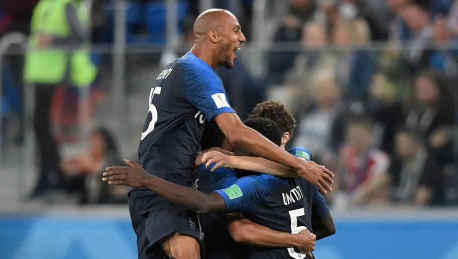 France's players celebrate their win at the end of the Russia 2018 World Cup semi-final football match between France and Belgium at the Saint Petersburg Stadium in Saint Petersburg on July 10, 2018. - France reached the World Cup final on Tuesday after a second-half header from Samuel Umtiti gave them a 1-0 win against Belgium. (Photo by GABRIEL BOUYS / AFP) / RESTRICTED TO EDITORIAL USE - NO MOBILE PUSH ALERTS/DOWNLOADS        (Photo credit should read GABRIEL BOUYS/AFP/Getty Images)