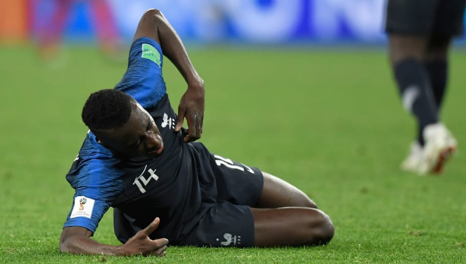 France's midfielder Blaise Matuidi reacts after a collision during the Russia 2018 World Cup semi-final football match between France and Belgium at the Saint Petersburg Stadium in Saint Petersburg on July 10, 2018. (Photo by GABRIEL BOUYS / AFP) / RESTRICTED TO EDITORIAL USE - NO MOBILE PUSH ALERTS/DOWNLOADS        (Photo credit should read GABRIEL BOUYS/AFP/Getty Images)