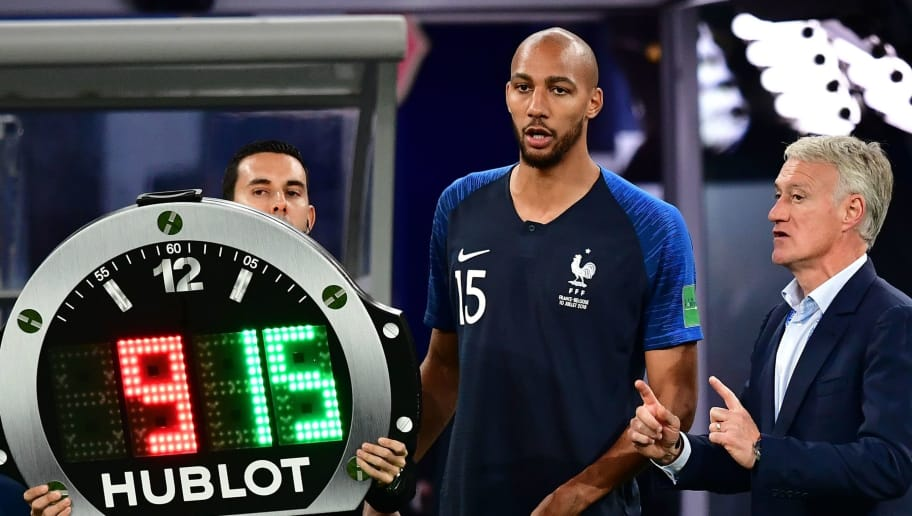 France's coach Didier Deschamps (R) speaks to France's midfielder Steven N'Zonzi (C) ahead of being substituted on during the Russia 2018 World Cup semi-final football match between France and Belgium at the Saint Petersburg Stadium in Saint Petersburg on July 10, 2018. (Photo by Giuseppe CACACE / AFP) / RESTRICTED TO EDITORIAL USE - NO MOBILE PUSH ALERTS/DOWNLOADS        (Photo credit should read GIUSEPPE CACACE/AFP/Getty Images)