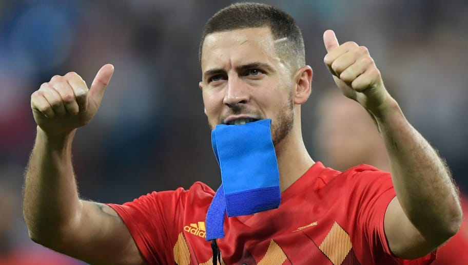 Belgium's forward Eden Hazard greets the fans after the Russia 2018 World Cup semi-final football match between France and Belgium at the Saint Petersburg Stadium in Saint Petersburg on July 10, 2018. - France reached the World Cup final on Tuesday after a second-half header from Samuel Umtiti gave them a 1-0 win against Belgium. (Photo by GABRIEL BOUYS / AFP) / RESTRICTED TO EDITORIAL USE - NO MOBILE PUSH ALERTS/DOWNLOADS        (Photo credit should read GABRIEL BOUYS/AFP/Getty Images)