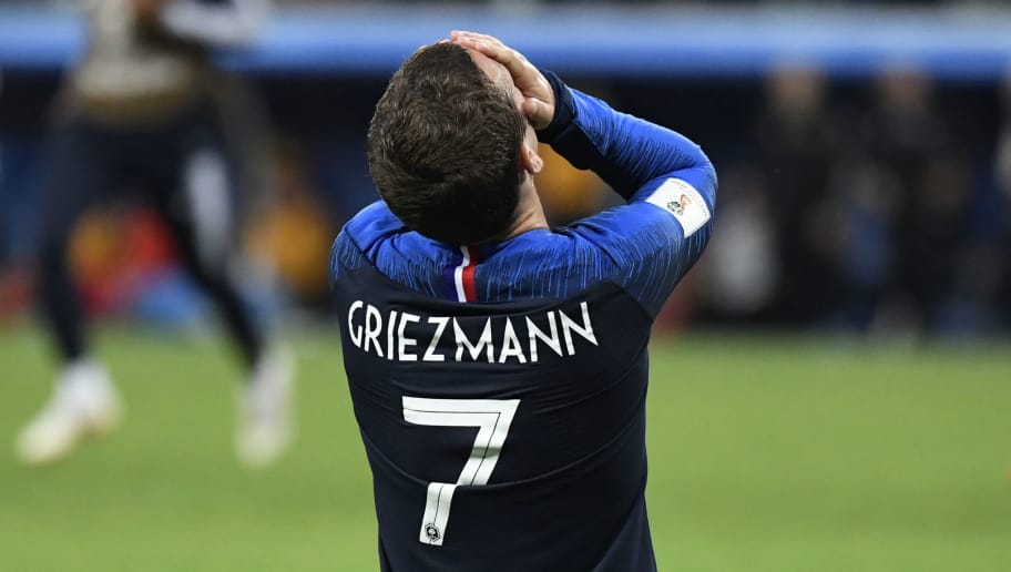 France's forward Antoine Griezmann celebrates at the end of the Russia 2018 World Cup semi-final football match between France and Belgium at the Saint Petersburg Stadium in Saint Petersburg on July 10, 2018. (Photo by CHRISTOPHE SIMON / AFP) / RESTRICTED TO EDITORIAL USE - NO MOBILE PUSH ALERTS/DOWNLOADS        (Photo credit should read CHRISTOPHE SIMON/AFP/Getty Images)