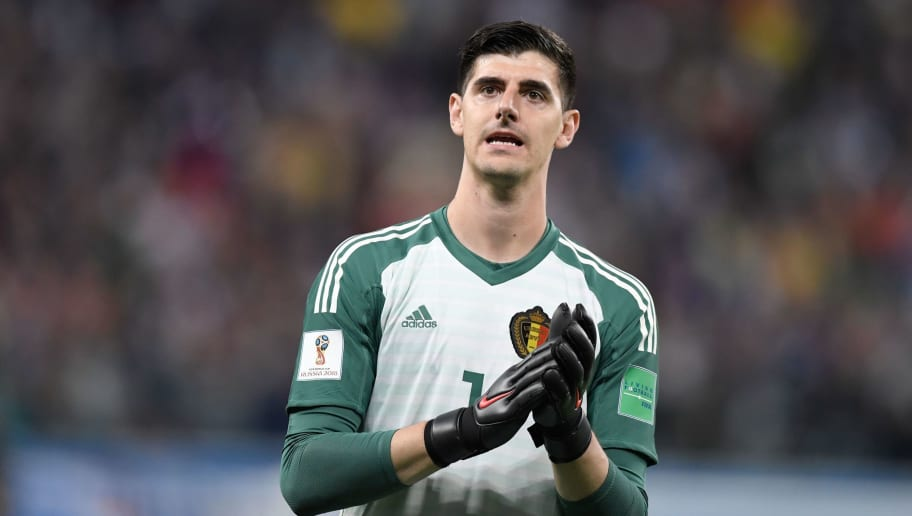 Belgium's goalkeeper Thibaut Courtois greets the fans after the Russia 2018 World Cup semi-final football match between France and Belgium at the Saint Petersburg Stadium in Saint Petersburg on July 10, 2018. - France reached the World Cup final on Tuesday after a second-half header from Samuel Umtiti gave them a 1-0 win against Belgium. (Photo by GABRIEL BOUYS / AFP) / RESTRICTED TO EDITORIAL USE - NO MOBILE PUSH ALERTS/DOWNLOADS        (Photo credit should read GABRIEL BOUYS/AFP/Getty Images)