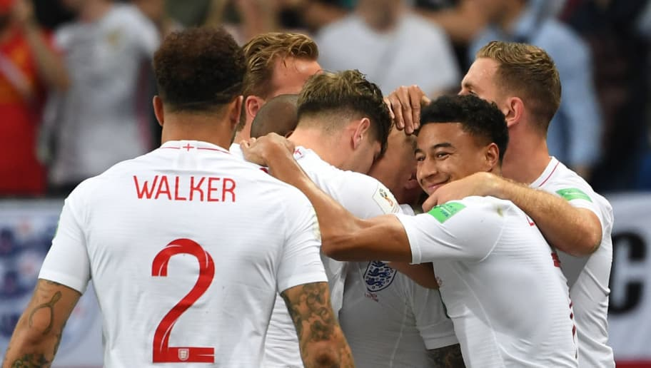 England's players celebrate their opening goal during the Russia 2018 World Cup semi-final football match between Croatia and England at the Luzhniki Stadium in Moscow on July 11, 2018. (Photo by MANAN VATSYAYANA / AFP) / RESTRICTED TO EDITORIAL USE - NO MOBILE PUSH ALERTS/DOWNLOADS        (Photo credit should read MANAN VATSYAYANA/AFP/Getty Images)