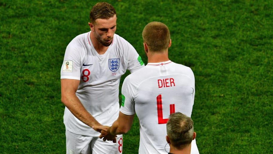 England's midfielder Jordan Henderson (L) is replaced by England's midfielder Eric Dier   during the Russia 2018 World Cup semi-final football match between Croatia and England at the Luzhniki Stadium in Moscow on July 11, 2018. (Photo by Mladen ANTONOV / AFP) / RESTRICTED TO EDITORIAL USE - NO MOBILE PUSH ALERTS/DOWNLOADS        (Photo credit should read MLADEN ANTONOV/AFP/Getty Images)