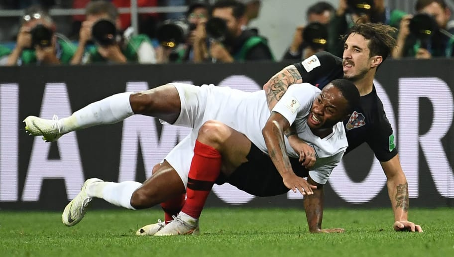 Croatia's defender Sime Vrsaljko (R) vies for the ball with England's forward Raheem Sterling during the Russia 2018 World Cup semi-final football match between Croatia and England at the Luzhniki Stadium in Moscow on July 11, 2018. (Photo by FRANCK FIFE / AFP) / RESTRICTED TO EDITORIAL USE - NO MOBILE PUSH ALERTS/DOWNLOADS        (Photo credit should read FRANCK FIFE/AFP/Getty Images)