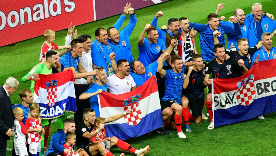 Croatia's players celebrate after winning the Russia 2018 World Cup semi-final football match between Croatia and England at the Luzhniki Stadium in Moscow on July 11, 2018. (Photo by Mladen ANTONOV / AFP) / RESTRICTED TO EDITORIAL USE - NO MOBILE PUSH ALERTS/DOWNLOADS        (Photo credit should read MLADEN ANTONOV/AFP/Getty Images)