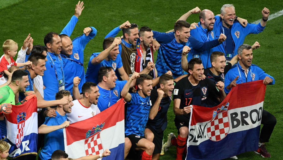 Croatia's players celebrate after winning the Russia 2018 World Cup semi-final football match between Croatia and England at the Luzhniki Stadium in Moscow on July 11, 2018. (Photo by Jewel SAMAD / AFP) / RESTRICTED TO EDITORIAL USE - NO MOBILE PUSH ALERTS/DOWNLOADS        (Photo credit should read JEWEL SAMAD/AFP/Getty Images)