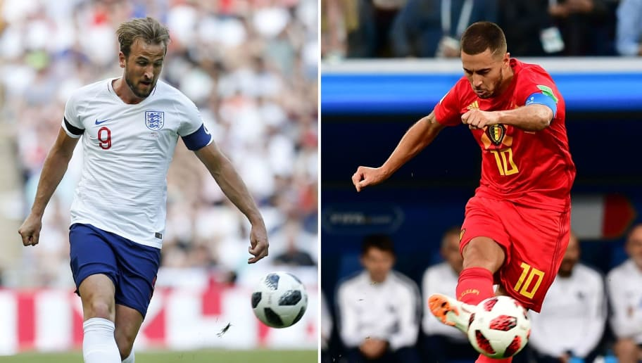 (COMBO) This combination of photos created on July 12, 2018 shows England's striker Harry Kane in London on June 2, 2018 (L) and Belgium's forward Eden Hazard in Saint Petersburg on July 10, 2018. - Belgium will play England in their Russia 2018 World Cup play-off for third place football match at the Saint Petersburg Stadium in Saint Petersburg on July 14, 2018. (Photo by Ian KINGTON and Giuseppe CACACE / AFP)        (Photo credit should read IAN KINGTON,GIUSEPPE CACACE/AFP/Getty Images)