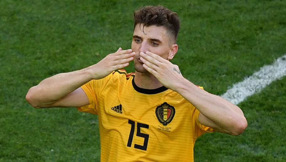 Belgium's defender Thomas Meunier greets the fans after their Russia 2018 World Cup play-off for third place football match between Belgium and England at the Saint Petersburg Stadium in Saint Petersburg on July 14, 2018. - Belgium beat England 2-0 in the World Cup third-place playoff in Saint Petersburg on Saturday. (Photo by OLGA MALTSEVA / AFP) / RESTRICTED TO EDITORIAL USE - NO MOBILE PUSH ALERTS/DOWNLOADS        (Photo credit should read OLGA MALTSEVA/AFP/Getty Images)
