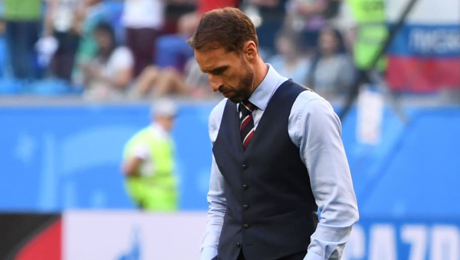 England's coach Gareth Southgate reacts after his team lost the Russia 2018 World Cup play-off for third place football match between Belgium and England at the Saint Petersburg Stadium in Saint Petersburg on July 14, 2018. (Photo by Paul ELLIS / AFP) / RESTRICTED TO EDITORIAL USE - NO MOBILE PUSH ALERTS/DOWNLOADS        (Photo credit should read PAUL ELLIS/AFP/Getty Images)