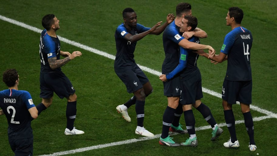 France's forward Antoine Griezmann (C) celebrates with teammates after scoring a goal during the Russia 2018 World Cup final football match between France and Croatia at the Luzhniki Stadium in Moscow on July 15, 2018. (Photo by GABRIEL BOUYS / AFP) / RESTRICTED TO EDITORIAL USE - NO MOBILE PUSH ALERTS/DOWNLOADS        (Photo credit should read GABRIEL BOUYS/AFP/Getty Images)