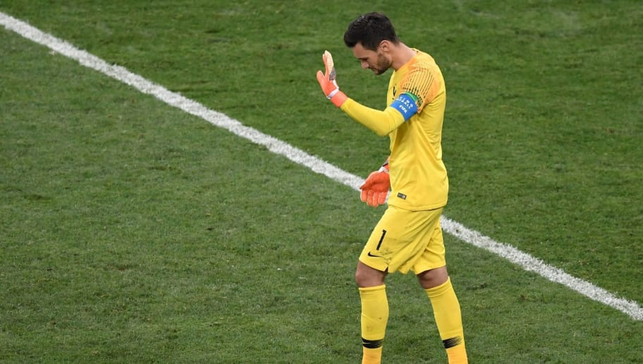 France's goalkeeper Hugo Lloris reacts during the Russia 2018 World Cup final football match between France and Croatia at the Luzhniki Stadium in Moscow on July 15, 2018. (Photo by GABRIEL BOUYS / AFP) / RESTRICTED TO EDITORIAL USE - NO MOBILE PUSH ALERTS/DOWNLOADS        (Photo credit should read GABRIEL BOUYS/AFP/Getty Images)