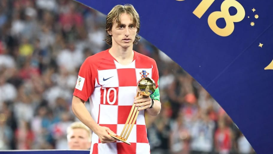 Croatia's midfielder Luka Modric holds the adidas Golden Ball prize during the trophy ceremony at the end of the Russia 2018 World Cup final football match between France and Croatia at the Luzhniki Stadium in Moscow on July 15, 2018. (Photo by FRANCK FIFE / AFP) / RESTRICTED TO EDITORIAL USE - NO MOBILE PUSH ALERTS/DOWNLOADS        (Photo credit should read FRANCK FIFE/AFP/Getty Images)