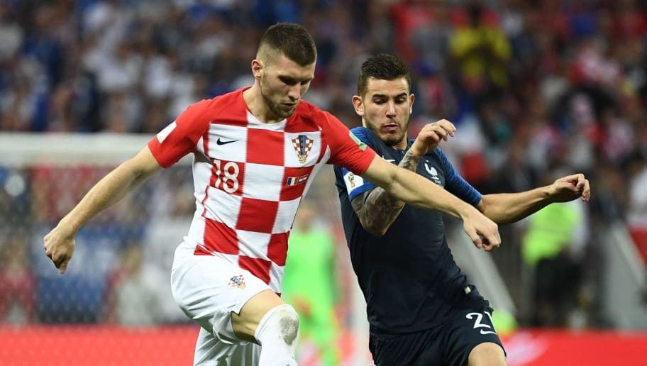 France's defender Lucas Hernandez (R) vies with Croatia's forward Ante Rebic during the Russia 2018 World Cup final football match between France and Croatia at the Luzhniki Stadium in Moscow on July 15, 2018. (Photo by FRANCK FIFE / AFP) / RESTRICTED TO EDITORIAL USE - NO MOBILE PUSH ALERTS/DOWNLOADS        (Photo credit should read FRANCK FIFE/AFP/Getty Images)