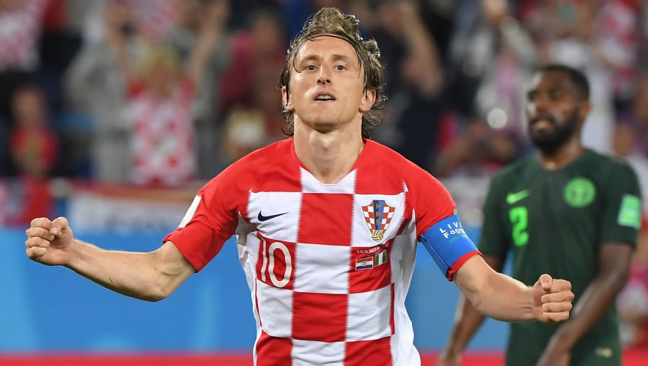 Croatia's midfielder Luka Modric celebrates scoring a penalty during the Russia 2018 World Cup Group D football match between Croatia and Nigeria at the Kaliningrad Stadium in Kaliningrad on June 16, 2018. (Photo by Patrick HERTZOG / AFP) / RESTRICTED TO EDITORIAL USE - NO MOBILE PUSH ALERTS/DOWNLOADS        (Photo credit should read PATRICK HERTZOG/AFP/Getty Images)