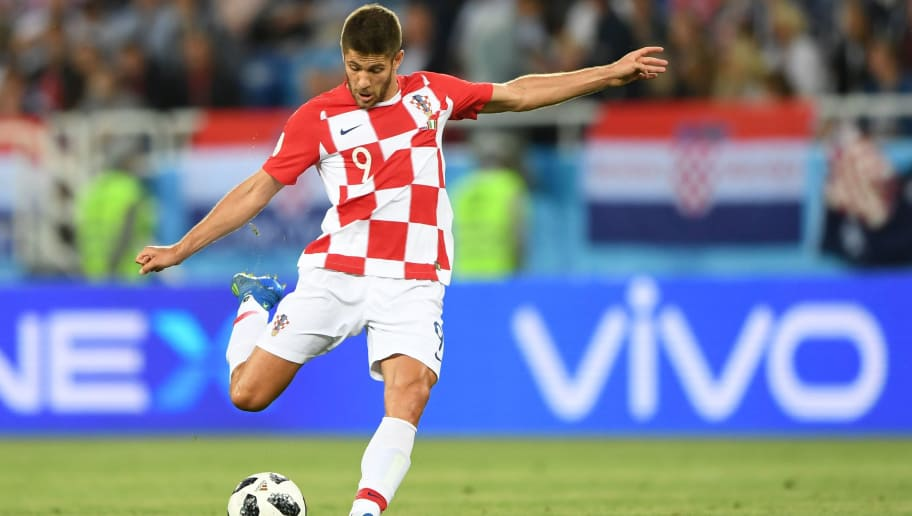 Croatia's forward Andrej Kramaric plays the ball during the Russia 2018 World Cup Group D football match between Croatia and Nigeria at the Kaliningrad Stadium in Kaliningrad on June 16, 2018. (Photo by OZAN KOSE / AFP) / RESTRICTED TO EDITORIAL USE - NO MOBILE PUSH ALERTS/DOWNLOADS        (Photo credit should read OZAN KOSE/AFP/Getty Images)