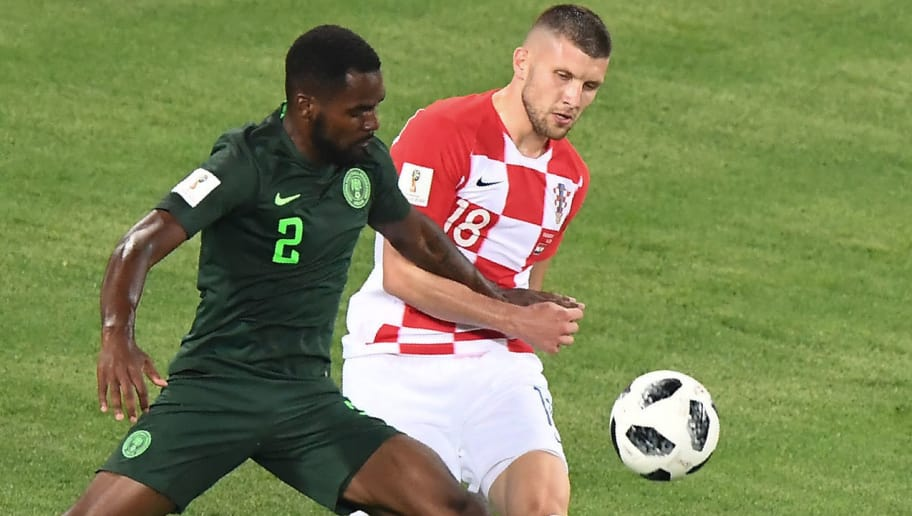 Nigeria's defender Brian Idowu vies with Croatia's forward Ante Rebic during the Russia 2018 World Cup Group D football match between Croatia and Nigeria at the Kaliningrad Stadium in Kaliningrad on June 16, 2018. (Photo by Attila KISBENEDEK / AFP) / RESTRICTED TO EDITORIAL USE - NO MOBILE PUSH ALERTS/DOWNLOADS        (Photo credit should read ATTILA KISBENEDEK/AFP/Getty Images)