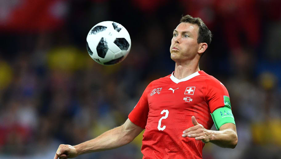 Switzerland's defender Stephan Lichtsteiner controls the ball during the Russia 2018 World Cup Group E football match between Brazil and Switzerland at the Rostov Arena in Rostov-On-Don on June 17, 2018. (Photo by JOE KLAMAR / AFP) / RESTRICTED TO EDITORIAL USE - NO MOBILE PUSH ALERTS/DOWNLOADS        (Photo credit should read JOE KLAMAR/AFP/Getty Images)