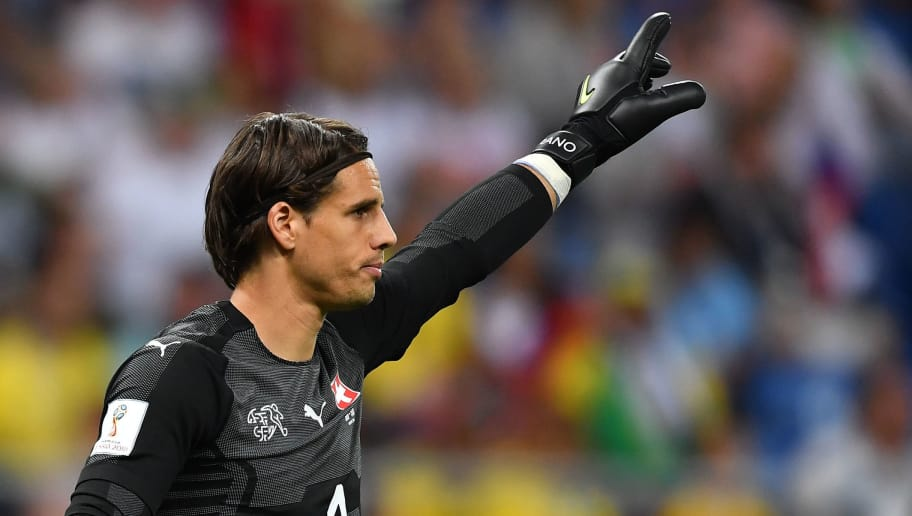 Switzerland's goalkeeper Yann Sommer gestures during the Russia 2018 World Cup Group E football match between Brazil and Switzerland at the Rostov Arena in Rostov-On-Don on June 17, 2018. (Photo by JOE KLAMAR / AFP) / RESTRICTED TO EDITORIAL USE - NO MOBILE PUSH ALERTS/DOWNLOADS        (Photo credit should read JOE KLAMAR/AFP/Getty Images)