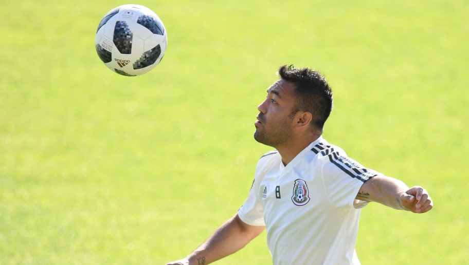Mexico's midfielder Marco Fabian eyes the ball during a training session on June 26, 2018 in Ekaterinburg as part of the Russia 2018 World Cup tournament. (Photo by JORGE GUERRERO / AFP)        (Photo credit should read JORGE GUERRERO/AFP/Getty Images)