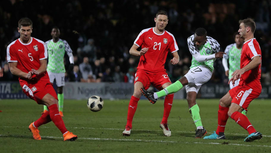 Nigeria's midfielder Ogenyi Onazi (2R) shoots but fails to score past Serbia's defender Matija Nastasic (L) during the International friendly football match between Nigeria and Serbia at the Hive stadium in Barnet, north London on March 27, 2018. / AFP PHOTO / DANIEL LEAL-OLIVAS        (Photo credit should read DANIEL LEAL-OLIVAS/AFP/Getty Images)