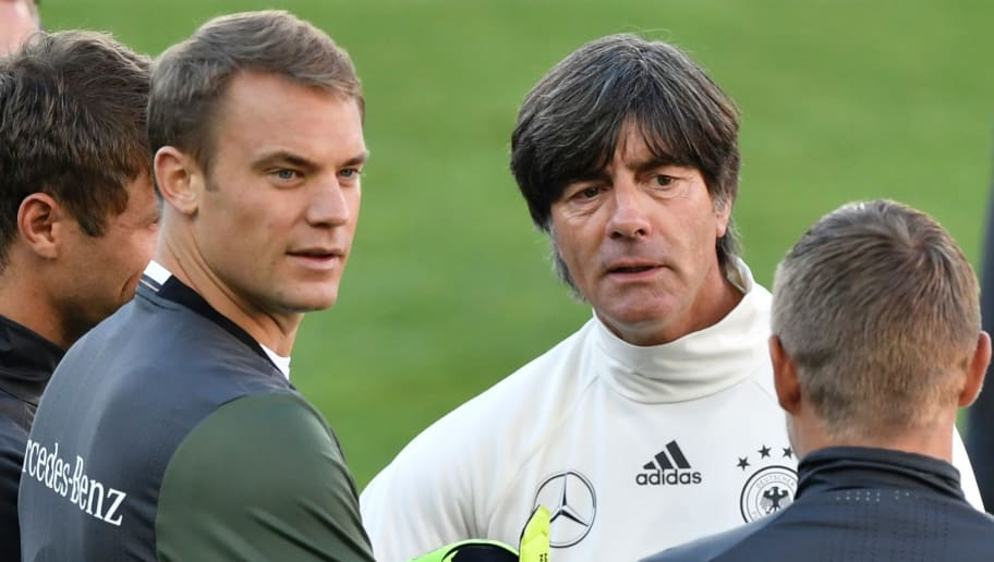 Germany's head coach Joachim Loew (C) speaks with Germany's goalkeeper Manuel Neuer (3rd from L) during a training session on the eve of the World Cup 2018 football qualification match between Norway and Germany in Oslo on September 3, 2016.  / AFP / John MACDOUGALL        (Photo credit should read JOHN MACDOUGALL/AFP/Getty Images)