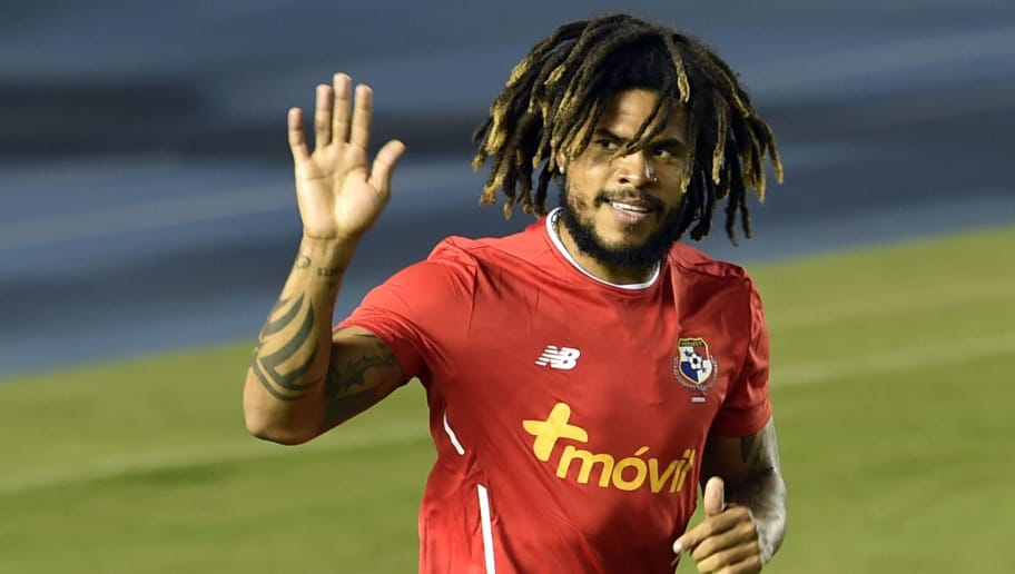 bbc19e27363 Panama's footballer Roman Torres waves to supporters during a training  session of the national football team