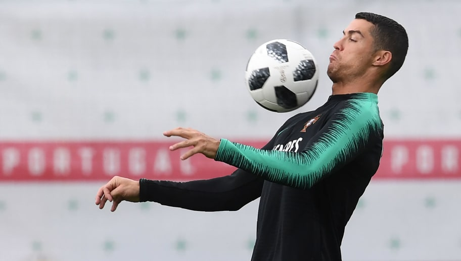 Portugal's forward Cristiano Ronaldo practices during training session in Kratovo, on June 13, 2018, ahead of the Russia 2018 World Cup football tournament. (Photo by Francisco LEONG / AFP)        (Photo credit should read FRANCISCO LEONG/AFP/Getty Images)