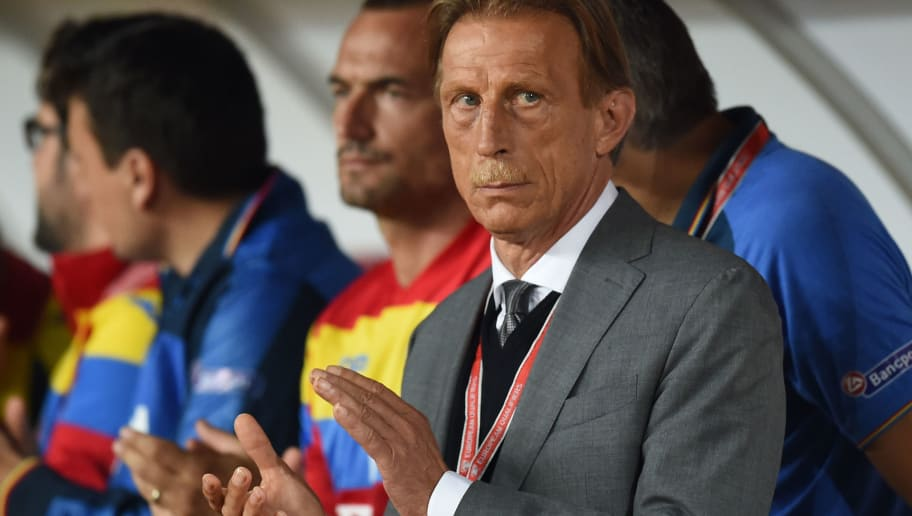 Romania's German coach Christoph Daum applauds prior to the World Cup 2018 football qualification match between Romania and Montenegro in Cluj-Napoca, Romania, on September 4, 2015.  / AFP / DANIEL MIHAILESCU        (Photo credit should read DANIEL MIHAILESCU/AFP/Getty Images)