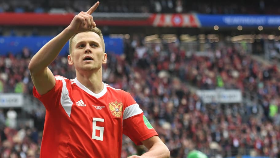 Russia's midfielder Denis Cheryshev celebrates after scoring their fourth goal during the Russia 2018 World Cup Group A football match between Russia and Saudi Arabia at the Luzhniki Stadium in Moscow on June 14, 2018. (Photo by Francisco LEONG / AFP) / RESTRICTED TO EDITORIAL USE - NO MOBILE PUSH ALERTS/DOWNLOADS        (Photo credit should read FRANCISCO LEONG/AFP/Getty Images)