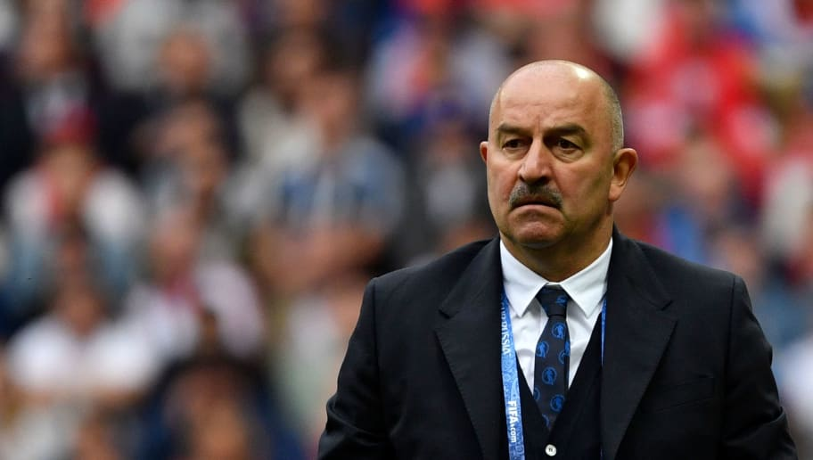 Russia's coach Stanislav Cherchesov attends the Russia 2018 World Cup Group A football match between Russia and Saudi Arabia at the Luzhniki Stadium in Moscow on June 14, 2018. (Photo by Alexander NEMENOV / AFP) / RESTRICTED TO EDITORIAL USE - NO MOBILE PUSH ALERTS/DOWNLOADS        (Photo credit should read ALEXANDER NEMENOV/AFP/Getty Images)