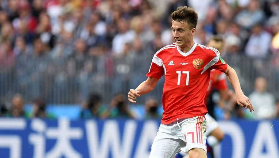 Russia's midfielder Aleksandr Golovin controls the ball during the Russia 2018 World Cup Group A football match between Russia and Saudi Arabia at the Luzhniki Stadium in Moscow on June 14, 2018. (Photo by Patrik STOLLARZ / AFP) / RESTRICTED TO EDITORIAL USE - NO MOBILE PUSH ALERTS/DOWNLOADS        (Photo credit should read PATRIK STOLLARZ/AFP/Getty Images)