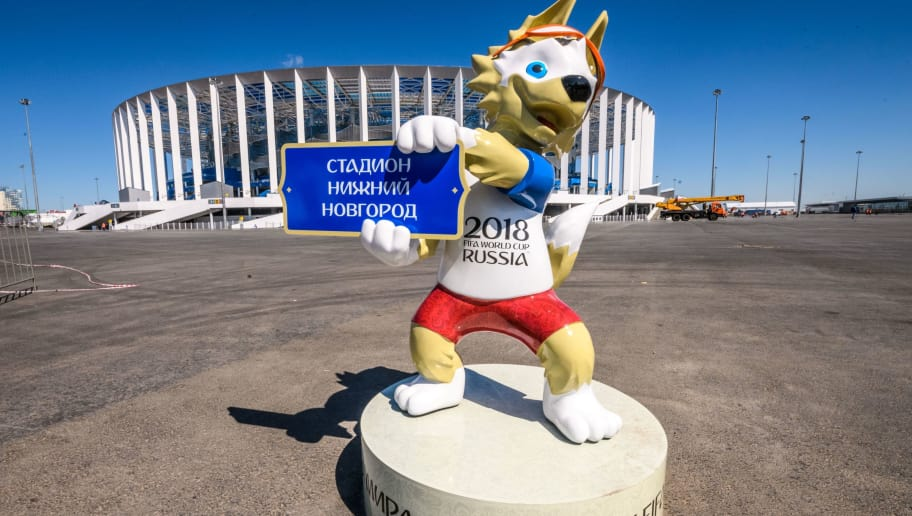 A photo taken on May 21, 2018 shows FIFA World Cup 2018 mascot Zabivaka, placed in front of the Nizhny Novgorod Arena in Nizhny Novgorod. - the stadium will host four group matches, Round of 16 game and a quarter-final football match of the FIFA World Cup 2018. (Photo by Mladen ANTONOV / AFP)        (Photo credit should read MLADEN ANTONOV/AFP/Getty Images)