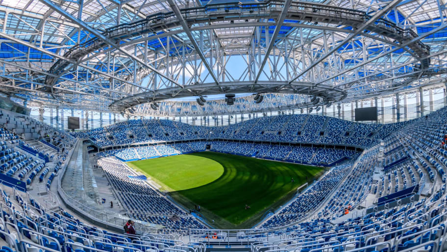 A photo shows an interior view of the Nizhny Novgorod Arena in Nizhny Novgorod on May 21, 2018. - The stadium will host four group matches, round of 16 game and a quarter-final football match of the FIFA World Cup 2018. (Photo by Mladen ANTONOV / AFP)        (Photo credit should read MLADEN ANTONOV/AFP/Getty Images)